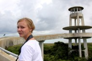 On our way up to a observation tower at Everglades.