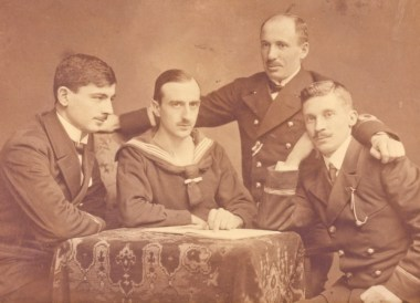Otto Kolshorn, also about 26 years old, surrounded by Navel Officers of the Ottoman Empire, instructing them on U-Boat technology.