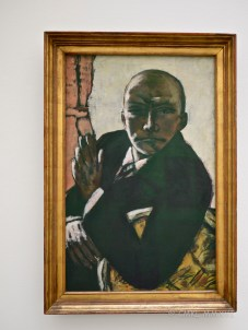 "Max Beckmann ""Selbstbildnis in Schwarz"" 1944, a late self-portrait of the artist, who rejected Expressionism in favor of Germany's art movement 'Neue Sachlichkeit' after his traumatic experiences during WWI. This painting is also very strongly reminiscent of my late uncle, somehow."