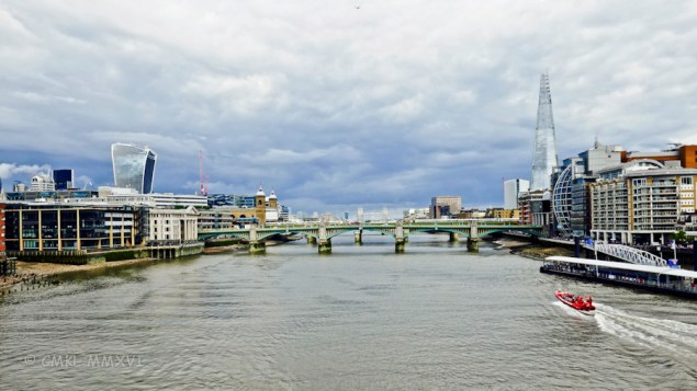 Looking downriver, Southwark bridge in the foreground obscuring London Bridge.