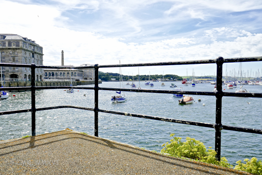 This is the view from Stonehouse across the bay to the Mayflower Marina. The Royal William Yard is to the left.