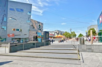 The edge of Federation Square along St. Kilda Rd.