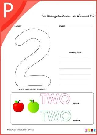 Pre-kindergarten Number Two Worksheet PDF