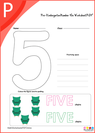 Pre-kindergarten Number Five Worksheet PDF