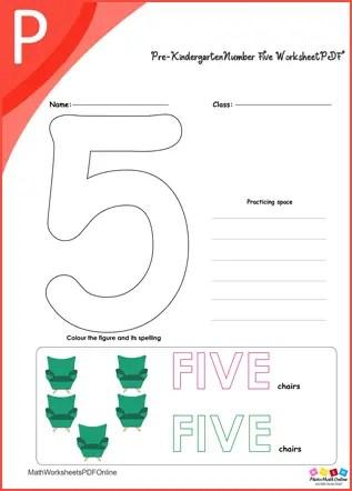 Pre-kindergarten Number Five Worksheet PDF