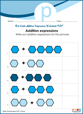 First Grade Addition Expressions Worksheet PDF