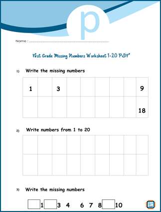First Grade Missing Numbers Worksheet 1-20