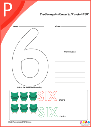 kindergarten Number Six Worksheet PDF