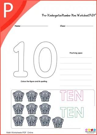 kindergarten Number Ten Worksheet PDF