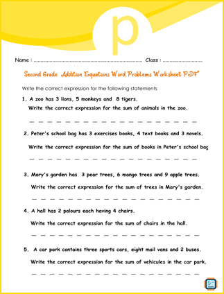 Second Grade Addition Equations Word Problems Worksheet