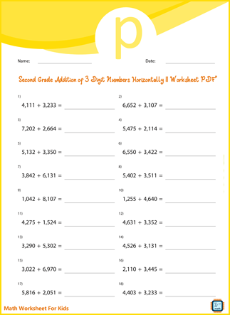 Second Grade Addition of 3 Digit Numbers Horizontally II Worksheet