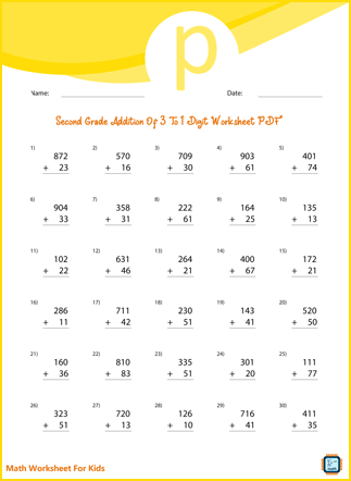 Second Grade Addition of 3 to 2 Digit Numbers Worksheet