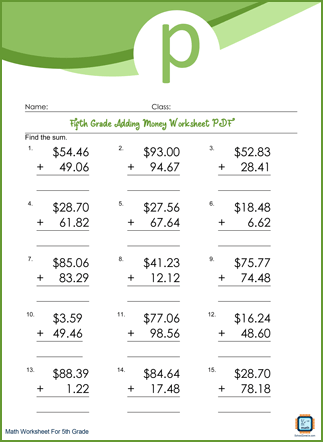 Adding Money Grade 5 Worksheet PDF With Answers