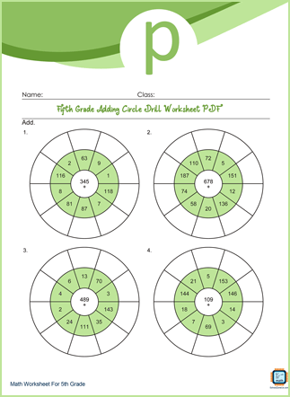 Adding Circle Drill Grade 5 Worksheet PDF With Answers