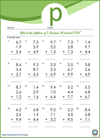 Addition of 3 Decimals Grade 5 Worksheet PDF Printable