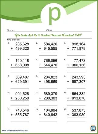 Add Up To Hundred Thousand Grade 5 Worksheet PDF Printable