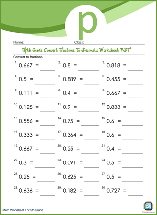 Convert Fractions To Decimals Grade 5 Worksheet PDF