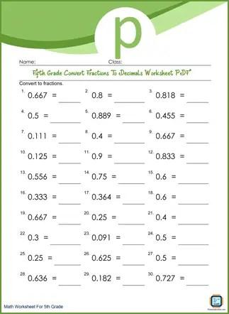 Convert Fractions To Decimals Grade 5 Worksheet PDF