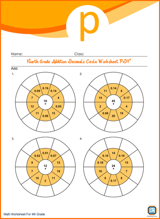 Fourth Grade Addition Decimals Circle Worksheet