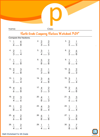 Fourth Grade Comparing Fractions Worksheet