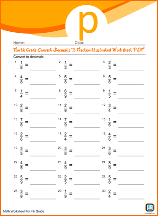 Fourth Grade Convert Decimals To Fraction Illustrated Worksheet