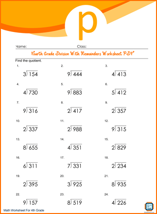Fourth Grade Division With Remainders Worksheet