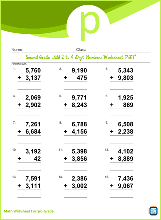 Third Grade Add 2 to 4 Digit Numbers Worksheet