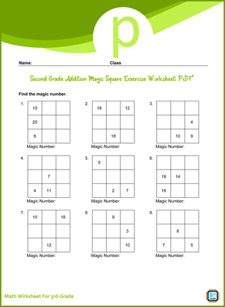 Third Grade Addition Magic Square Exercise Worksheet