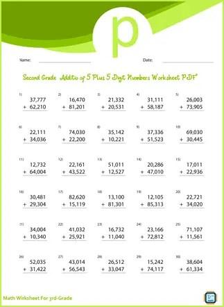 Third Grade Addition of 5 Plus 5 Digit Numbers Worksheet