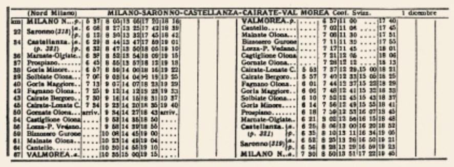Valmorea railway timetable 1933