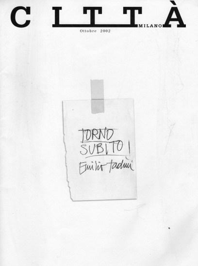 Emilio Tadini, rivista Città Milano dedicata all'artista e scrittore