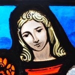 Stained glass of a blond character