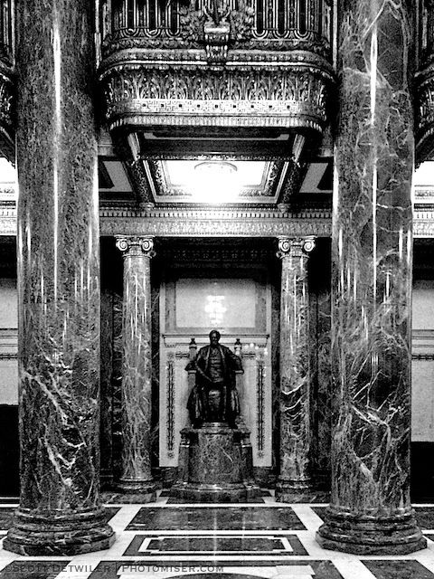 Statue of Carnegie in Carnegie Music Hall Lobby