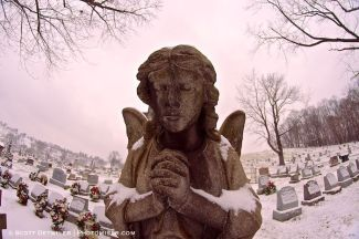 Stone angel in cemetery
