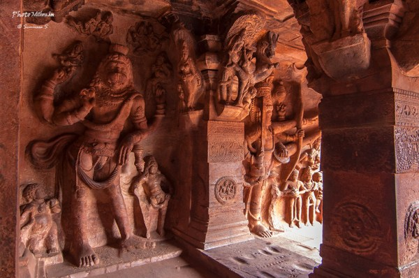 Elaborate carvings inside the cave temples