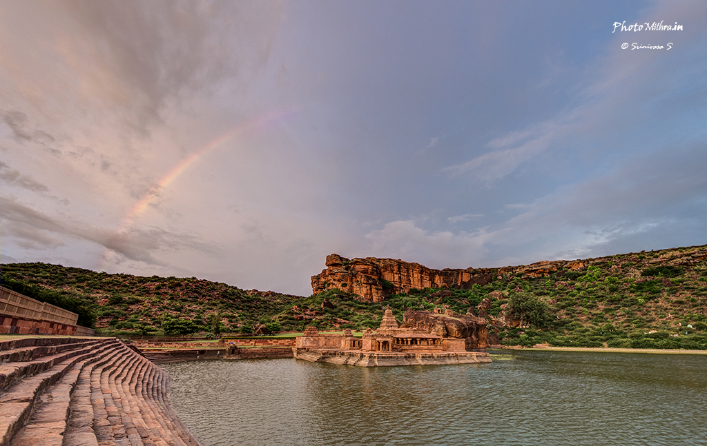 Rainbow over Bhootanatha temple at Badami