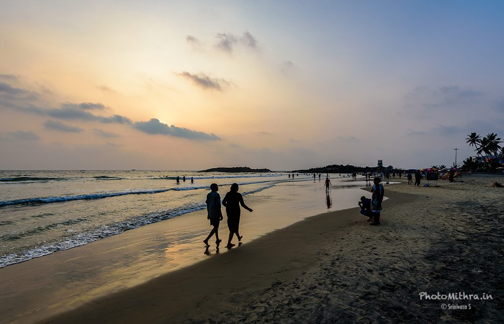 Sunset hour at Kovalam beach