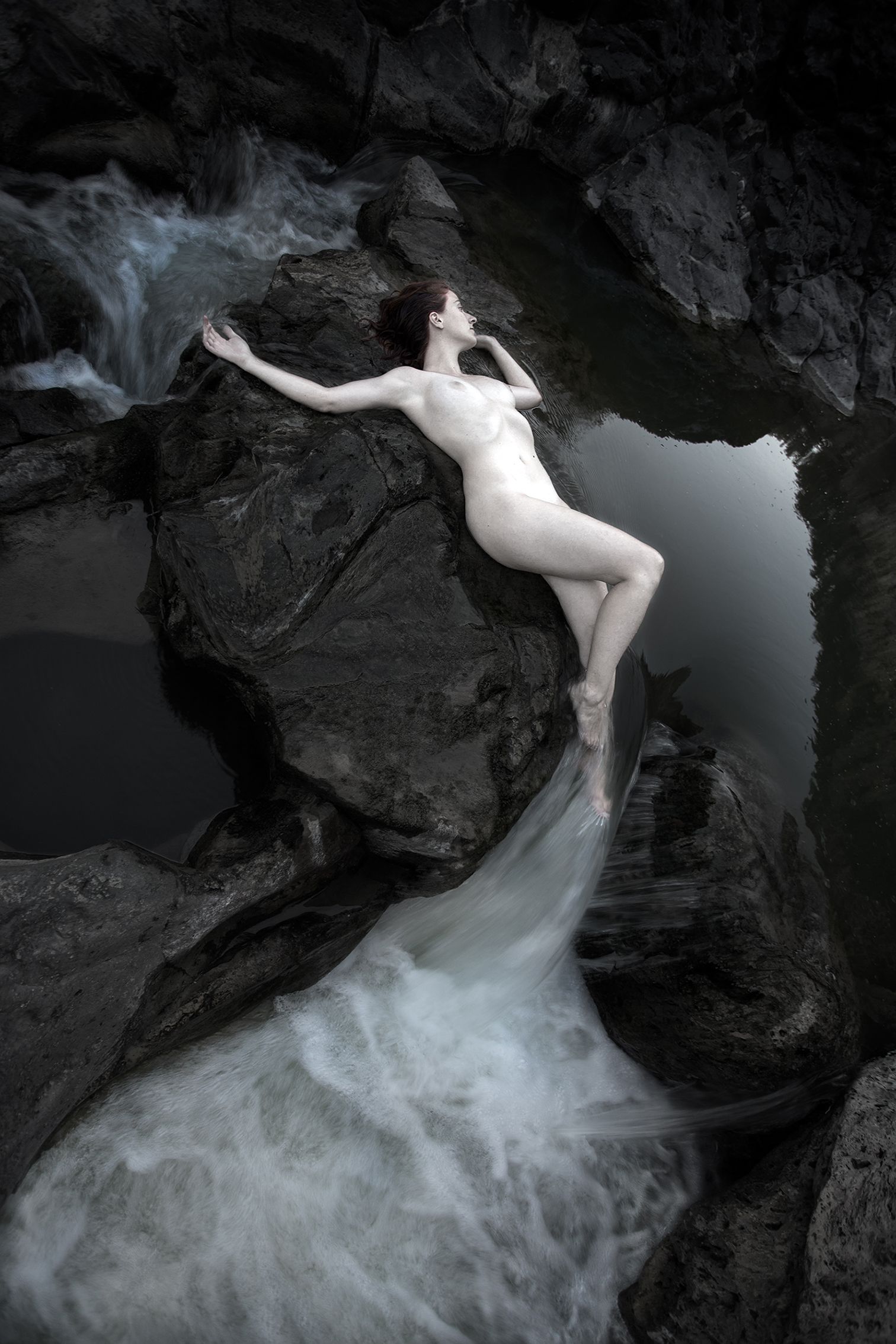 Rusalka, Song of the Moon by Patrick Richmond Nicholas,art photographer; inspired by Dvorak's opera and Beardsley's Peacock Skirt
