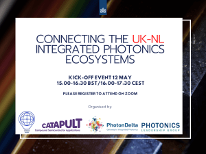 Connecting the UK-NL integrated photonics ecosystems 12 May 15-16:30 BST
