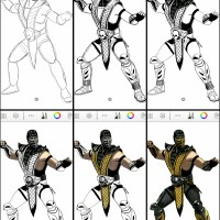 How to draw Scorpion of Mortal Kombat