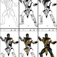 How to draw Scorpion of Mortal Kombat