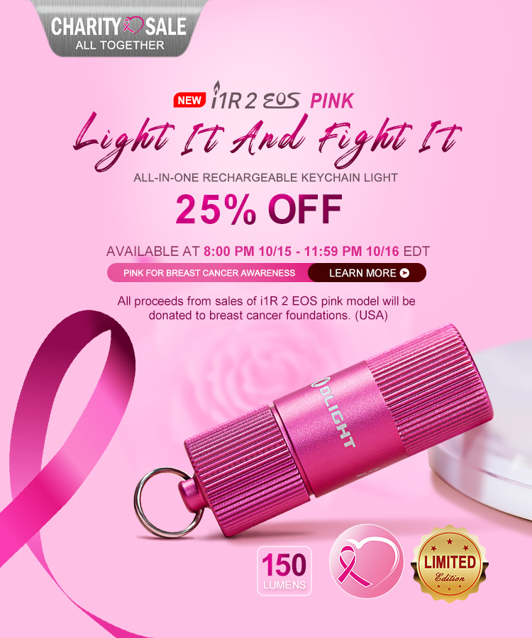 Olight Pink i1R EOS 2 Limited Edition with proceeds donated to breast cancer foundations (USA)