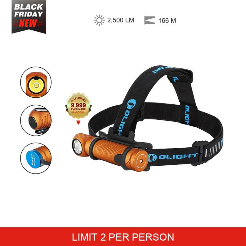 Olight Perun 2 right angle headlamp 21700 battery black and orange