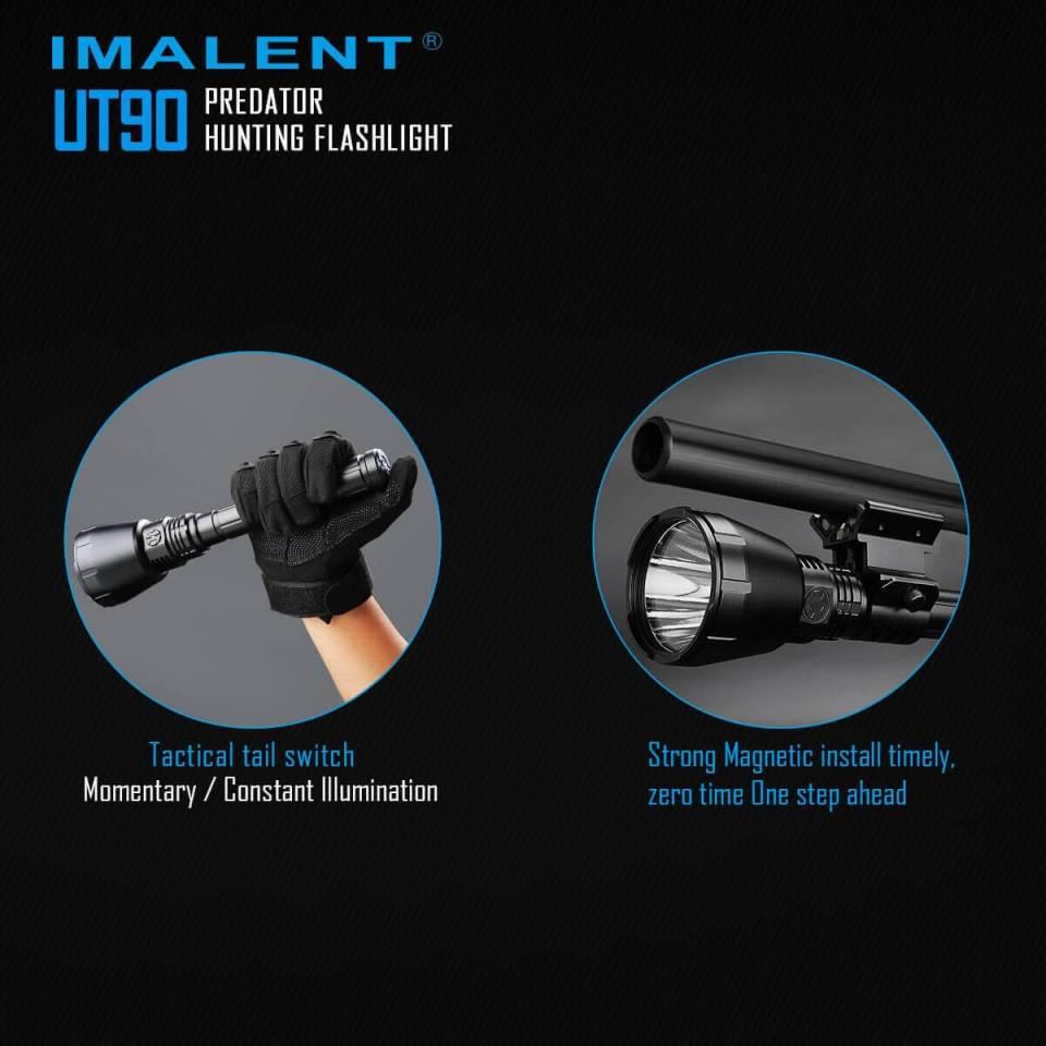 imalent ut90 luminus sbt-90 hunting flashlight tail switch use