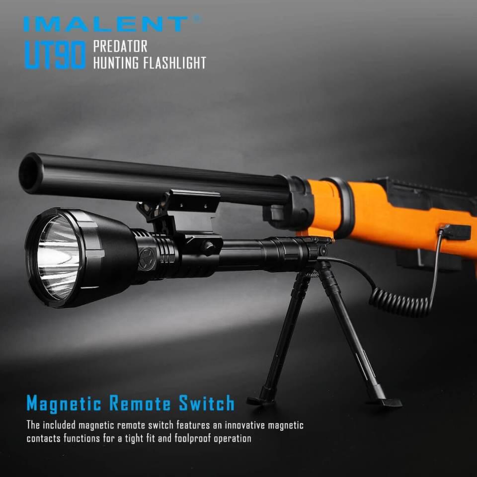 imalent ut90 luminus sbt-90 hunting flashlight mounted to weapon