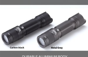 skilhunt e2a AA / 14500 powered flashlight in black and grey