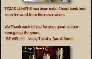 Texas Lumens flashlights website screenshot saying the company has been sold
