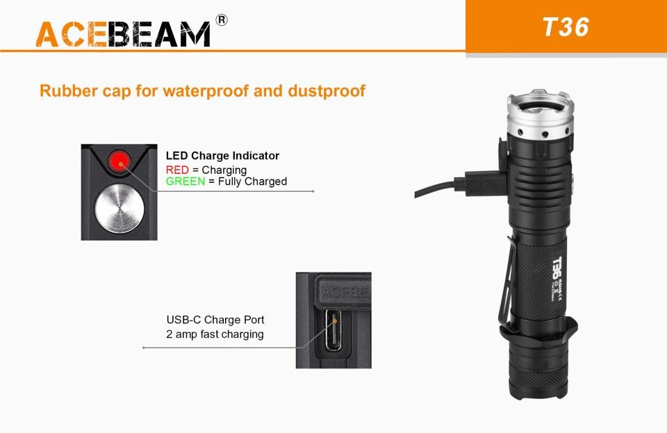 Acebeam T36 charging
