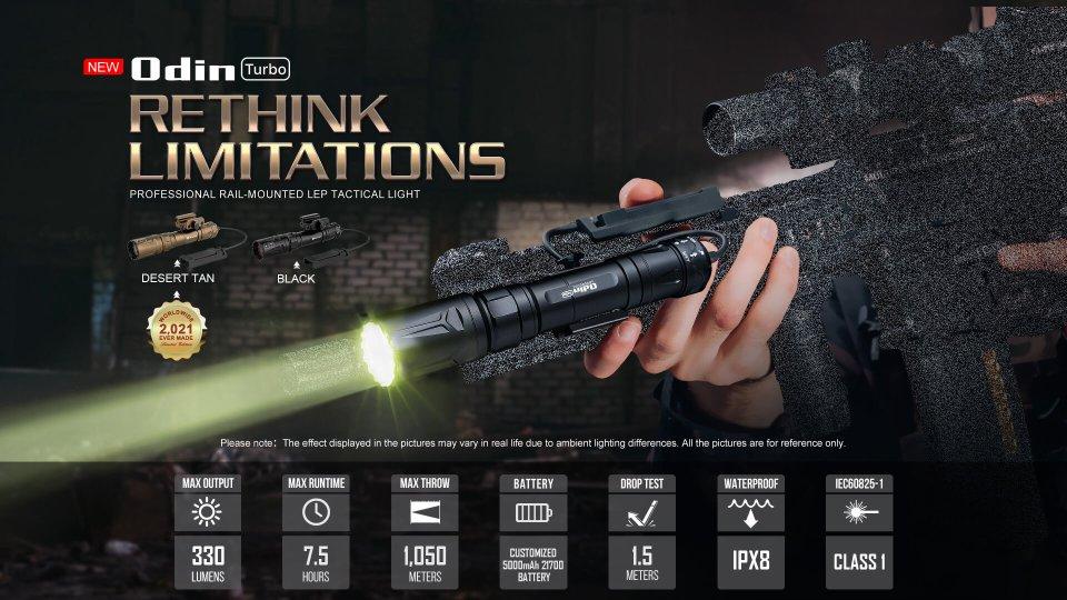 Olight odin lep mounted on a rifle
