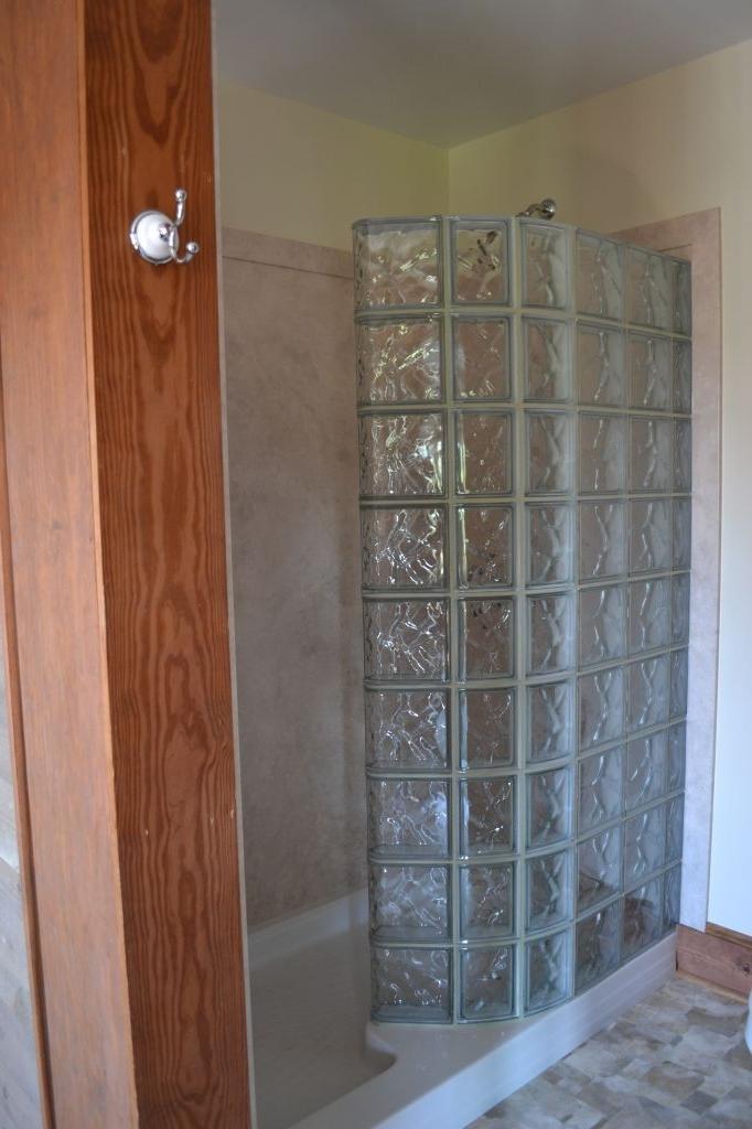 Glass block walk shower photos